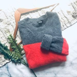 Theory Coral Color Block Sweater (S)